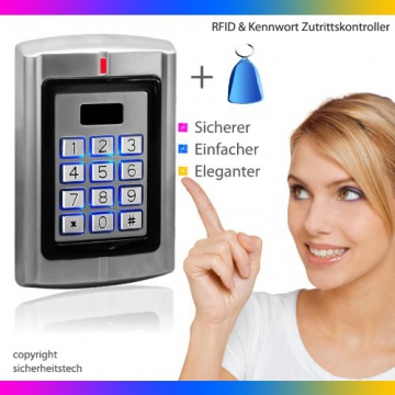 ber hrungsloses rfid codeschloss mit rfid transponder oder. Black Bedroom Furniture Sets. Home Design Ideas